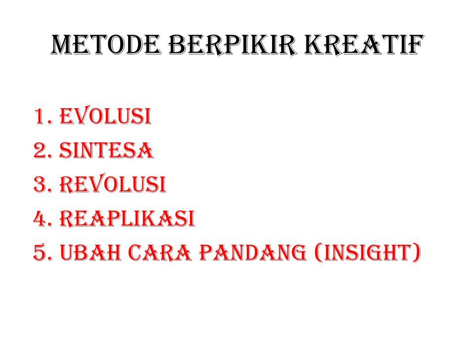 Metode berpikir kreatif 1.Evolusi 2.Sintesa 3.Revolusi 4.Reaplikasi 5.Ubah cara pandang (insight)