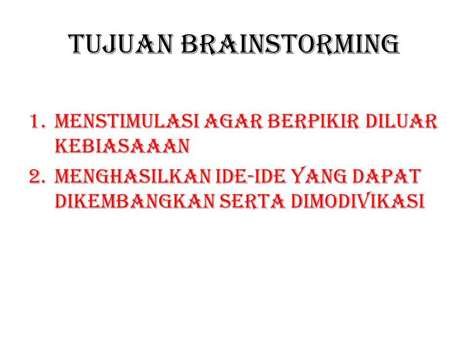 Tujuan brainstorming 1.Menstimulasi agar berpikir diluar kebiasaaan 2.Menghasilkan ide-ide yang dapat dikembangkan serta dimodivikasi