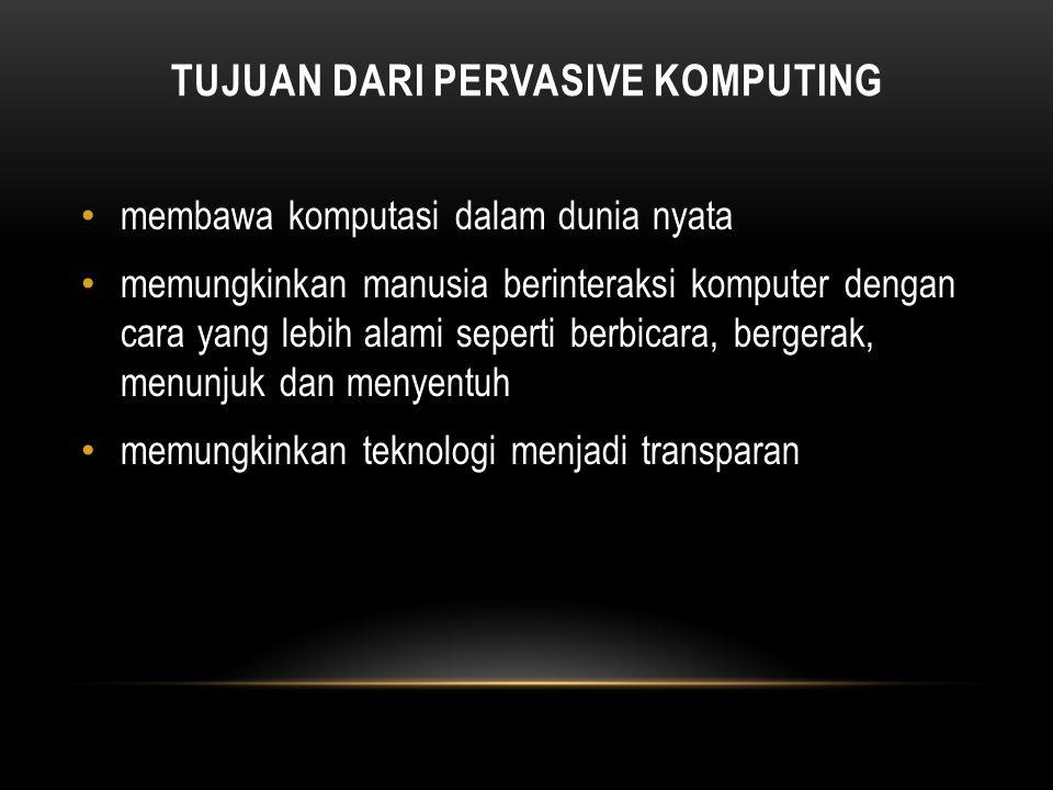 PERVASIVE / UBIQUOTIOUS COMPUTING tiga bentuk dasar dari mesin Ubiquitous Tab : dapat dipakaikan atau dipasang dengan ukuran sentimeter. Pad : segengg