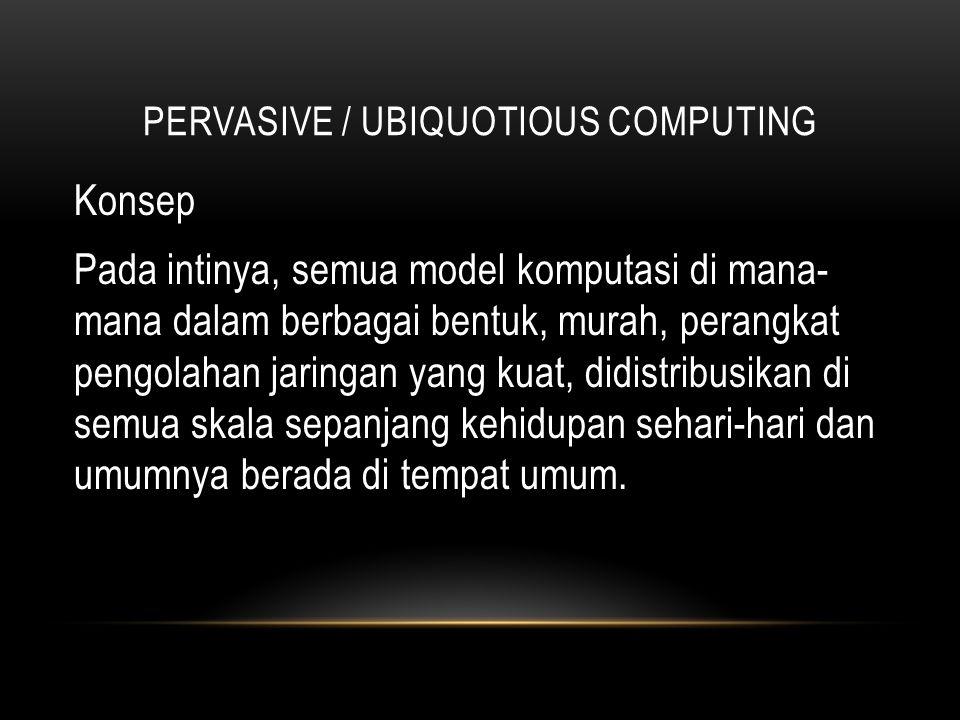 PERVASIVE / UBIQUOTIOUS COMPUTING Sejarah Latar belakang munculnya ide dasar ubicomp berasal dari sejumlah pengamatan dan studi di PARC terhadap PC, bentuk komputer yang paling dikenal luas oleh masyarakat.