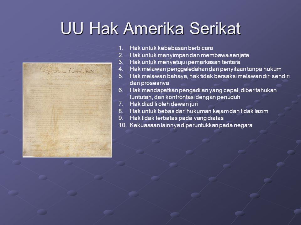 UU Hak Amerika Serikat 1.Hak untuk kebebasan berbicara 2.Hak untuk menyimpan dan membawa senjata 3.Hak untuk menyetujui pemarkasan tentara 4.Hak melaw