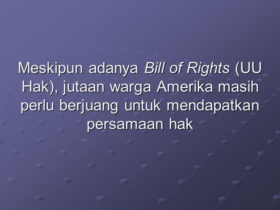 Meskipun adanya Bill of Rights (UU Hak), jutaan warga Amerika masih perlu berjuang untuk mendapatkan persamaan hak