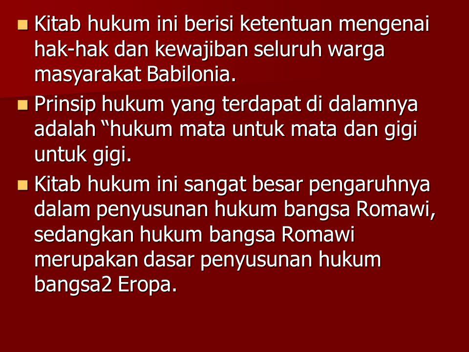 Kitab hukum ini berisi ketentuan mengenai hak-hak dan kewajiban seluruh warga masyarakat Babilonia. Kitab hukum ini berisi ketentuan mengenai hak-hak