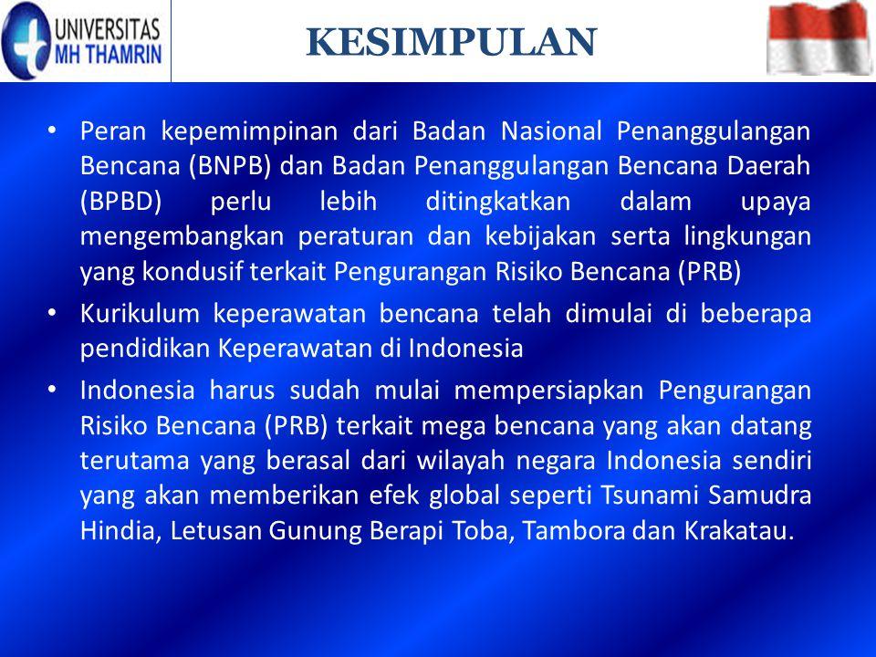 Peran kepemimpinan dari Badan Nasional Penanggulangan Bencana (BNPB) dan Badan Penanggulangan Bencana Daerah (BPBD) perlu lebih ditingkatkan dalam upa