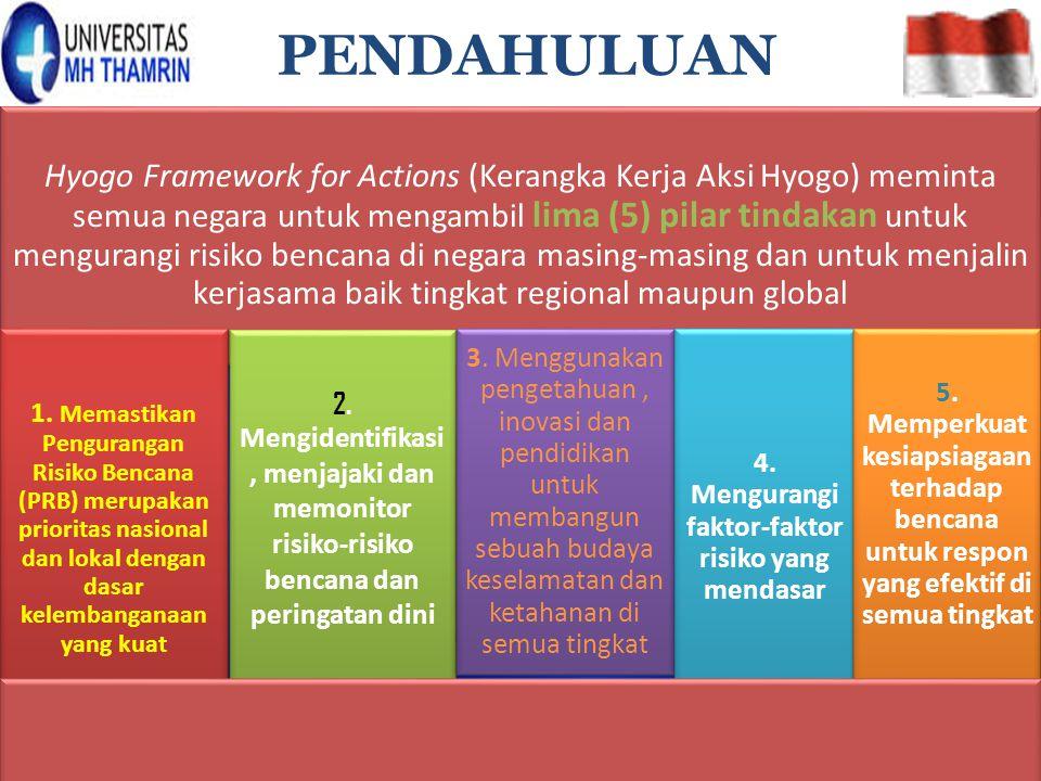 Hyogo Framework for Actions (Kerangka Kerja Aksi Hyogo) meminta semua negara untuk mengambil lima (5) pilar tindakan untuk mengurangi risiko bencana d