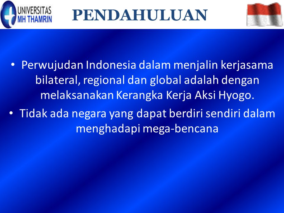 Perwujudan Indonesia dalam menjalin kerjasama bilateral, regional dan global adalah dengan melaksanakan Kerangka Kerja Aksi Hyogo. Tidak ada negara ya
