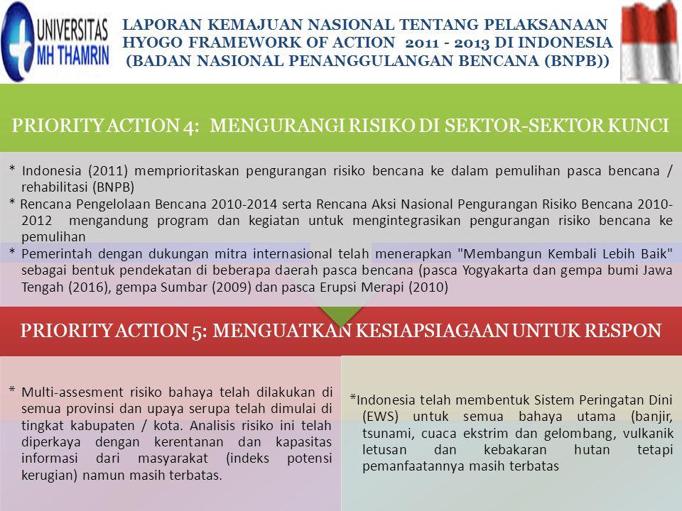 PRIORITY ACTION 5: MENGUATKAN KESIAPSIAGAAN UNTUK RESPON * Multi-assesment risiko bahaya telah dilakukan di semua provinsi dan upaya serupa telah dimu