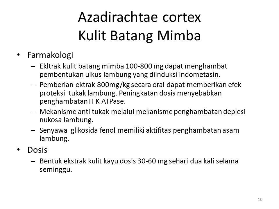 Azadirachtae cortex Kulit Batang Mimba Farmakologi – Ekltrak kulit batang mimba 100-800 mg dapat menghambat pembentukan ulkus lambung yang diinduksi i