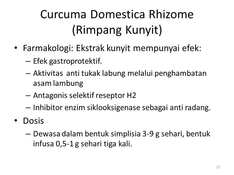 Curcuma Domestica Rhizome (Rimpang Kunyit) Farmakologi: Ekstrak kunyit mempunyai efek: – Efek gastroprotektif. – Aktivitas anti tukak labung melalui p