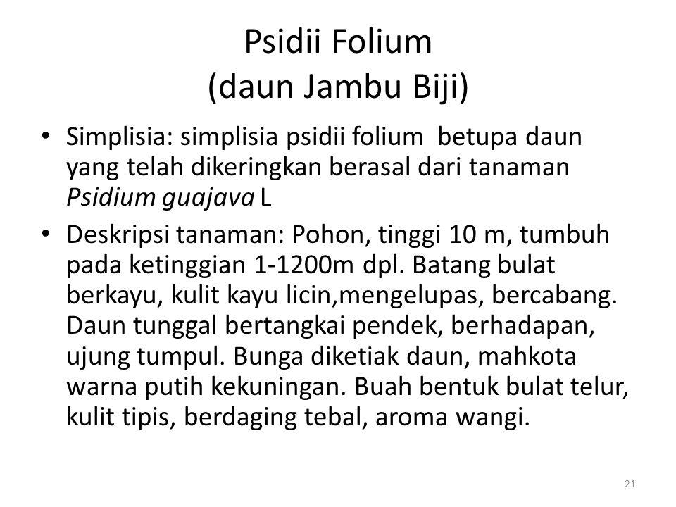 Psidii Folium (daun Jambu Biji) Simplisia: simplisia psidii folium betupa daun yang telah dikeringkan berasal dari tanaman Psidium guajava L Deskripsi