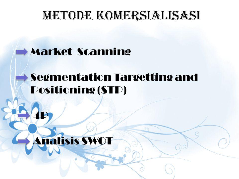 METODE KOMERSIALISASI Market Scanning Segmentation Targetting and Positioning (STP) 4P Analisis SWOT