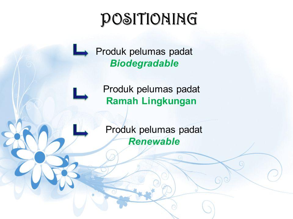 POSITIONING Produk pelumas padat Biodegradable Produk pelumas padat Ramah Lingkungan Produk pelumas padat Renewable