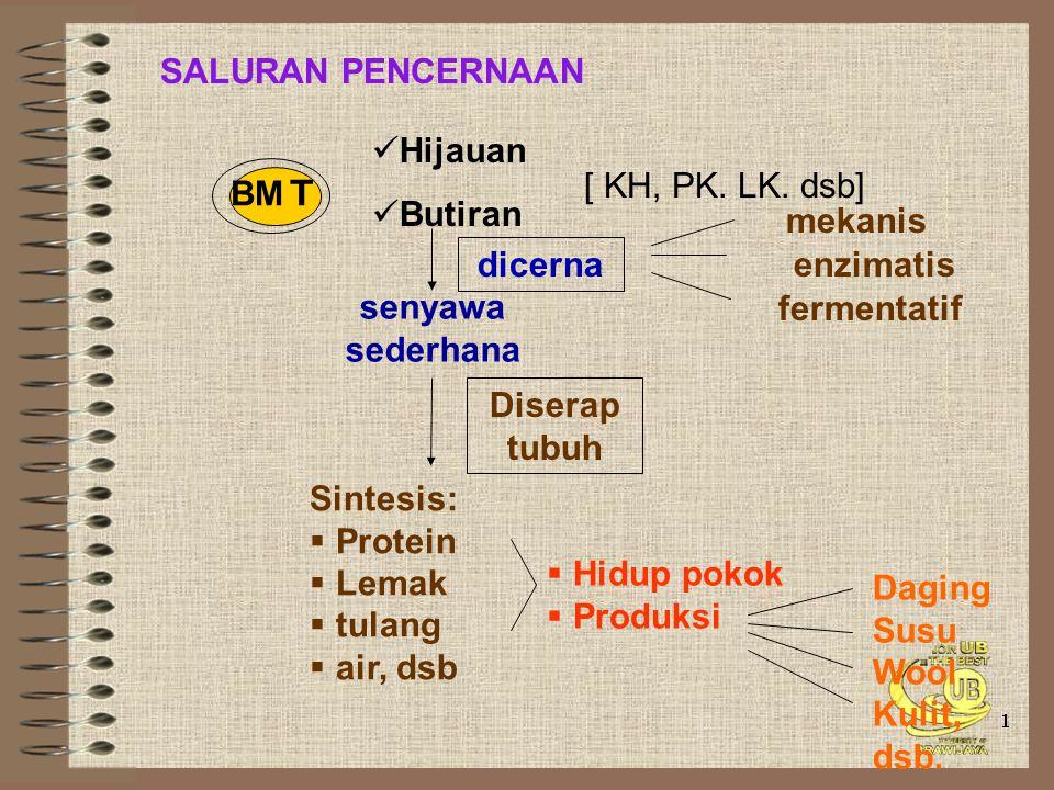 BM T SALURAN PENCERNAAN Hijauan Butiran [ KH, PK. LK. dsb] dicerna mekanis enzimatis fermentatif senyawa sederhana Diserap tubuh Sintesis:  Protein 