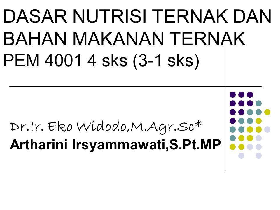 DASAR NUTRISI TERNAK DAN BAHAN MAKANAN TERNAK PEM 4001 4 sks (3-1 sks) Dr.Ir. Eko Widodo,M.Agr.Sc* Artharini Irsyammawati,S.Pt.MP