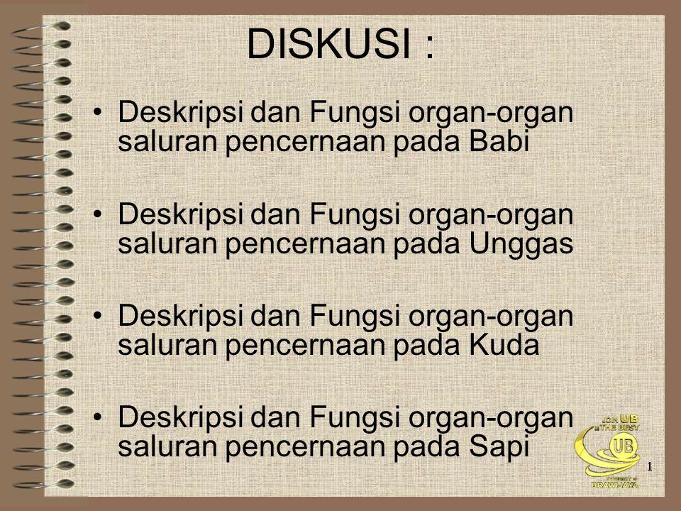 DISKUSI : Deskripsi dan Fungsi organ-organ saluran pencernaan pada Babi Deskripsi dan Fungsi organ-organ saluran pencernaan pada Unggas Deskripsi dan