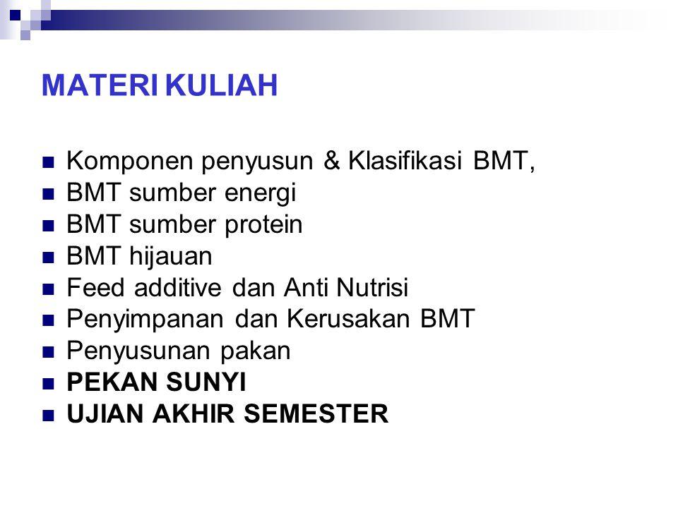 MATERI KULIAH Komponen penyusun & Klasifikasi BMT, BMT sumber energi BMT sumber protein BMT hijauan Feed additive dan Anti Nutrisi Penyimpanan dan Ker