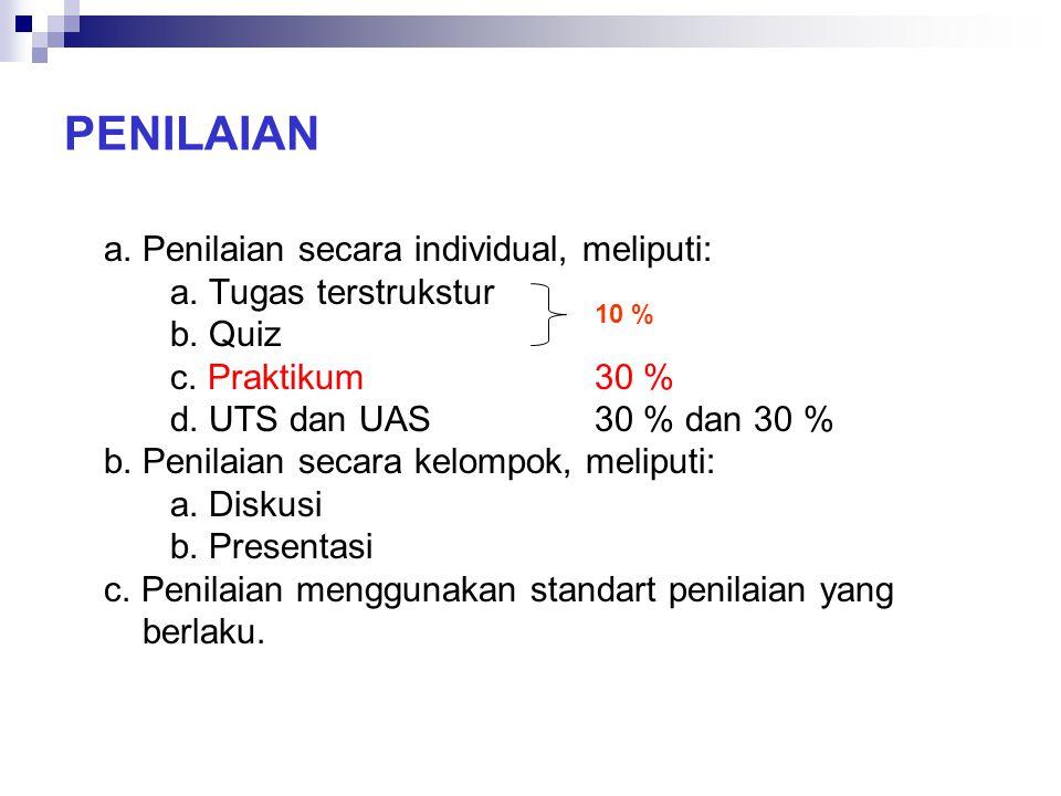 PENILAIAN a. Penilaian secara individual, meliputi: a. Tugas terstrukstur b. Quiz c. Praktikum30 % d. UTS dan UAS30 % dan 30 % b. Penilaian secara kel