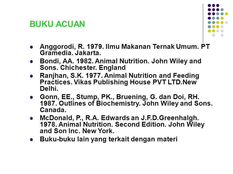 BUKU ACUAN Anggorodi, R. 1979. Ilmu Makanan Ternak Umum. PT Gramedia. Jakarta. Bondi, AA. 1982. Animal Nutrition. John Wiley and Sons. Chichester. Eng