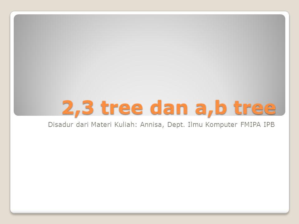 2,3 tree dan a,b tree Disadur dari Materi Kuliah: Annisa, Dept. Ilmu Komputer FMIPA IPB