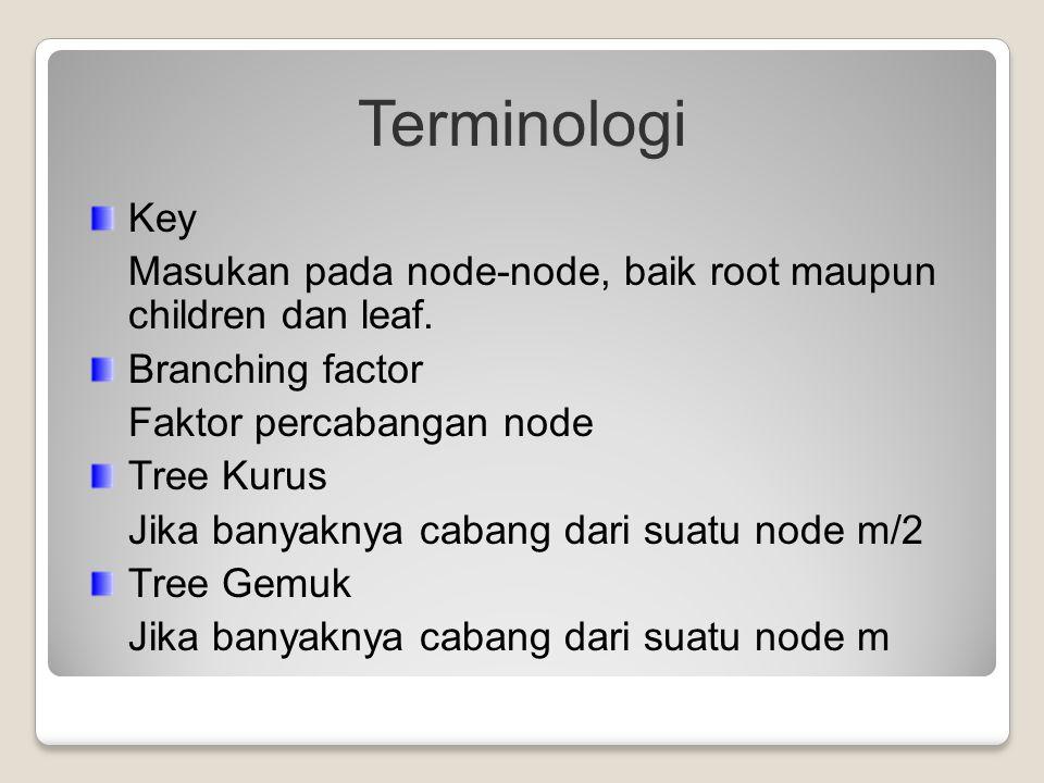 Terminologi Key Masukan pada node-node, baik root maupun children dan leaf. Branching factor Faktor percabangan node Tree Kurus Jika banyaknya cabang