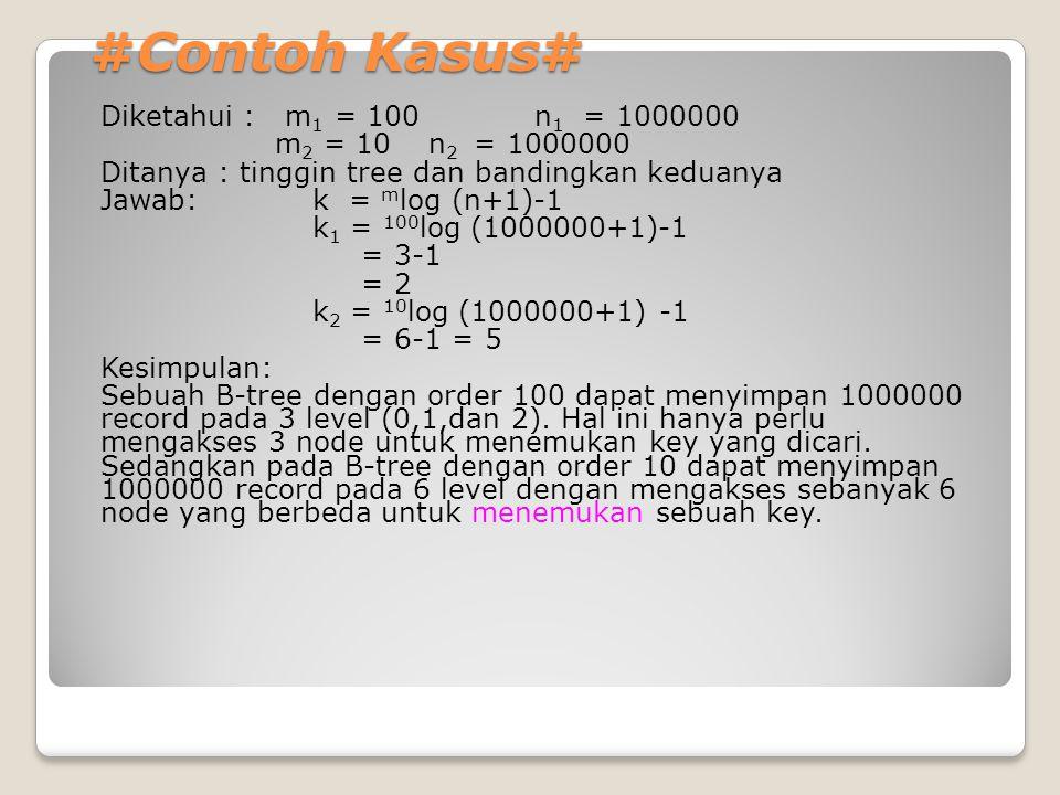 #Contoh Kasus# Diketahui : m 1 = 100 n 1 = 1000000 m 2 = 10 n 2 = 1000000 Ditanya : tinggin tree dan bandingkan keduanya Jawab:k = m log (n+1)-1 k 1 =