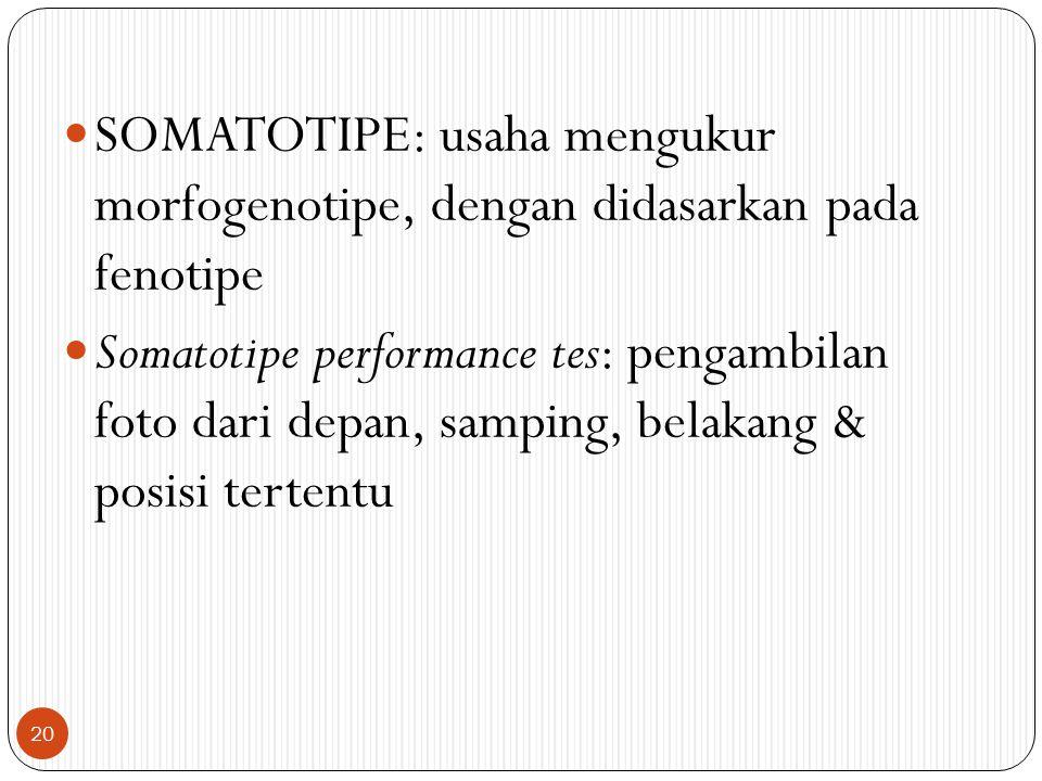 SOMATOTIPE: usaha mengukur morfogenotipe, dengan didasarkan pada fenotipe Somatotipe performance tes: pengambilan foto dari depan, samping, belakang &