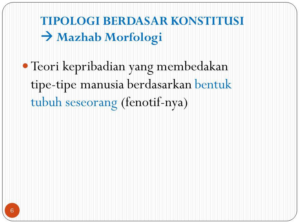 Teori kepribadian yang membedakan tipe-tipe manusia berdasarkan bentuk tubuh seseorang (fenotif-nya) TIPOLOGI BERDASAR KONSTITUSI  Mazhab Morfologi 6