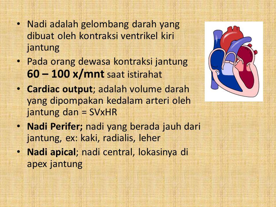 Nadi adalah gelombang darah yang dibuat oleh kontraksi ventrikel kiri jantung Pada orang dewasa kontraksi jantung 60 – 100 x/mnt saat istirahat Cardia