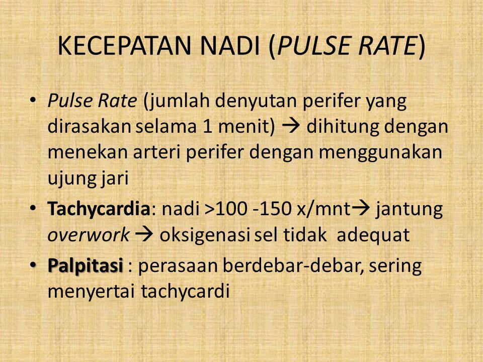 KECEPATAN NADI (PULSE RATE) Pulse Rate (jumlah denyutan perifer yang dirasakan selama 1 menit)  dihitung dengan menekan arteri perifer dengan menggun