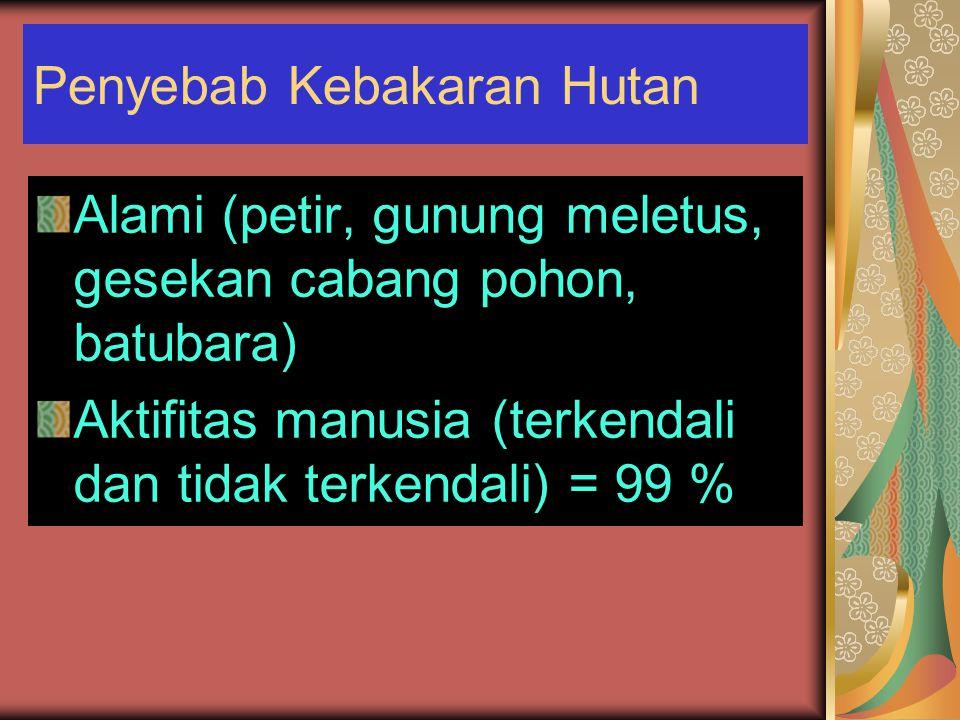 Penyebab Kebakaran Hutan Alami (petir, gunung meletus, gesekan cabang pohon, batubara) Aktifitas manusia (terkendali dan tidak terkendali) = 99 %