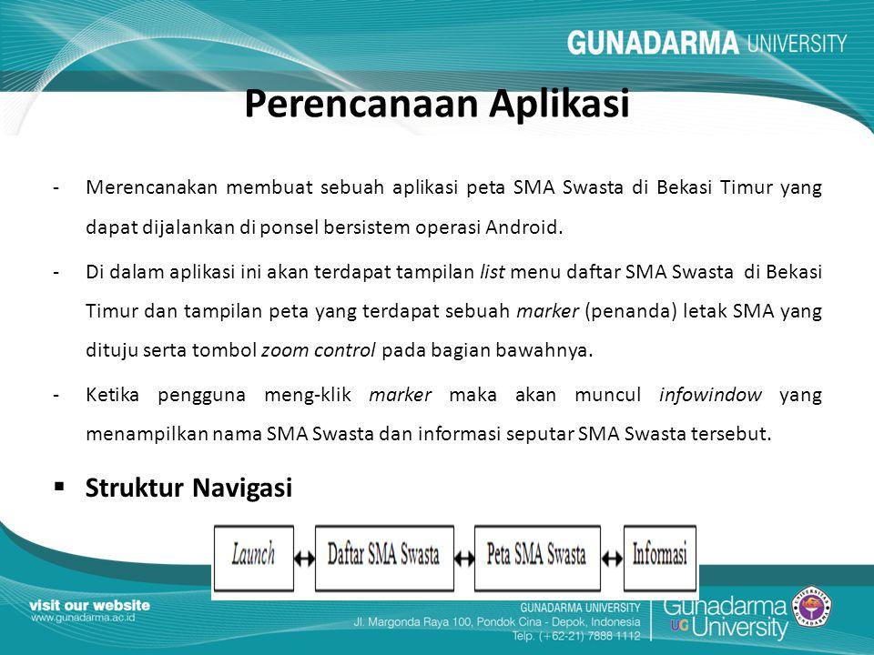 Perencanaan Aplikasi - Merencanakan membuat sebuah aplikasi peta SMA Swasta di Bekasi Timur yang dapat dijalankan di ponsel bersistem operasi Android.
