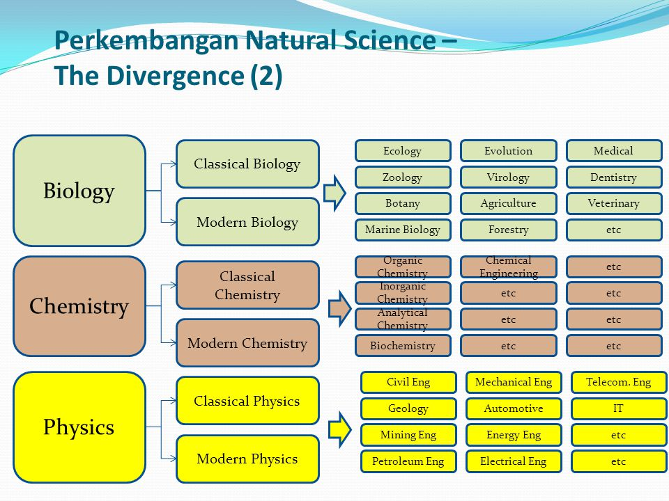 Biology Chemistry Physics Classical Biology Modern Biology Classical Chemistry Modern Chemistry Classical Physics Modern Physics Zoology Botany Ecolog