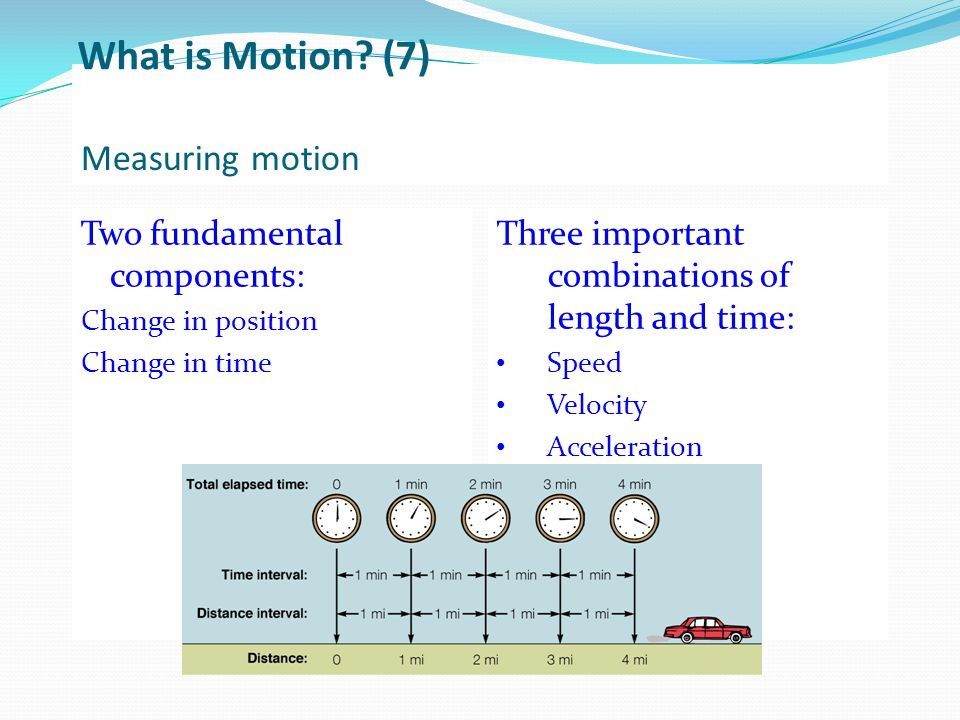 Measuring motion Two fundamental components: Change in position Change in time Three important combinations of length and time: Speed Velocity Acceler
