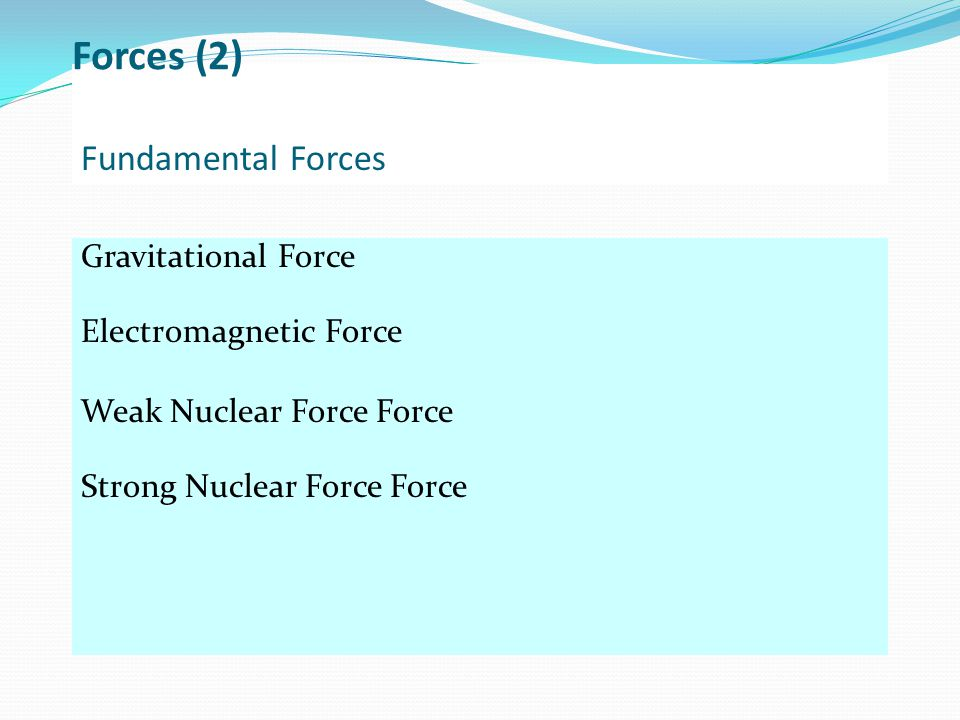 Fundamental Forces Gravitational Force Electromagnetic Force Weak Nuclear Force Force Strong Nuclear Force Force Forces (2)