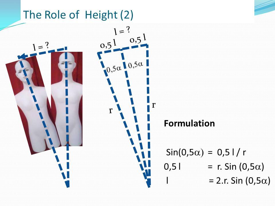 The Role of Height (2)  l = .0,5 l r r Formulation Sin(0,5  = 0,5 l / r 0,5 l = r.