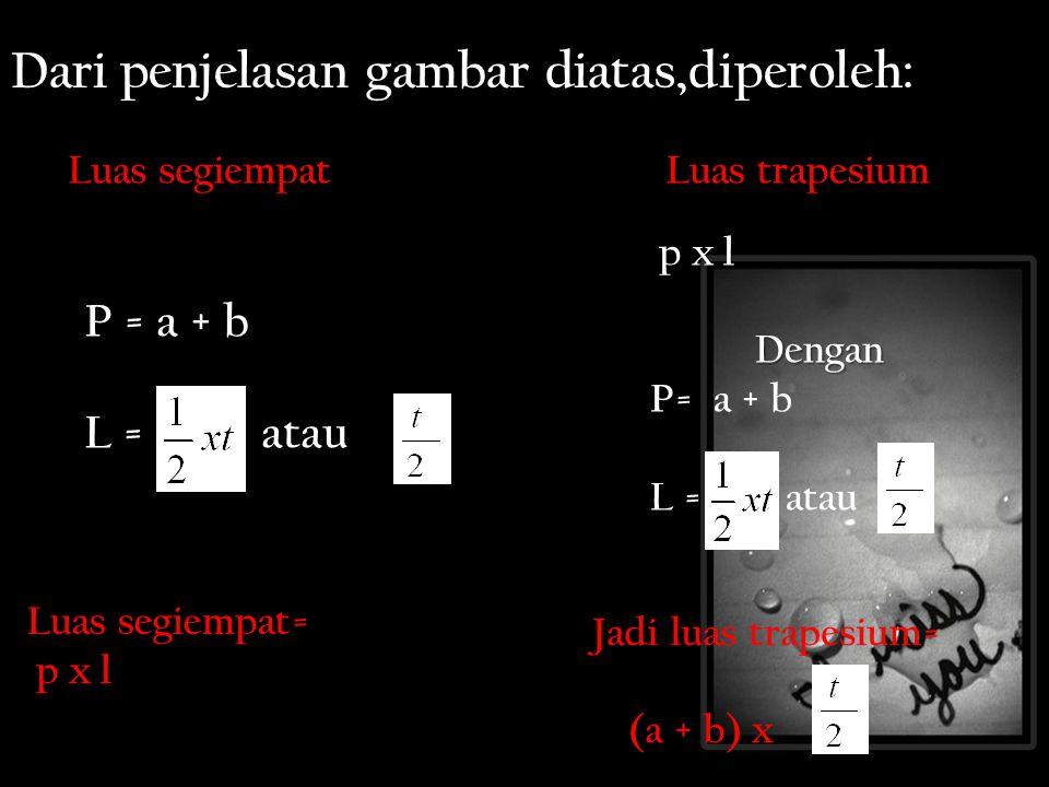 Dari penjelasan gambar diatas,diperoleh: Luas trapesium = P = a + b L = atau Luas segiempat Luas segiempat= p x l p x l p x lDengan P= P= a + b L = atau Jadi luas trapesium= (a + b) x