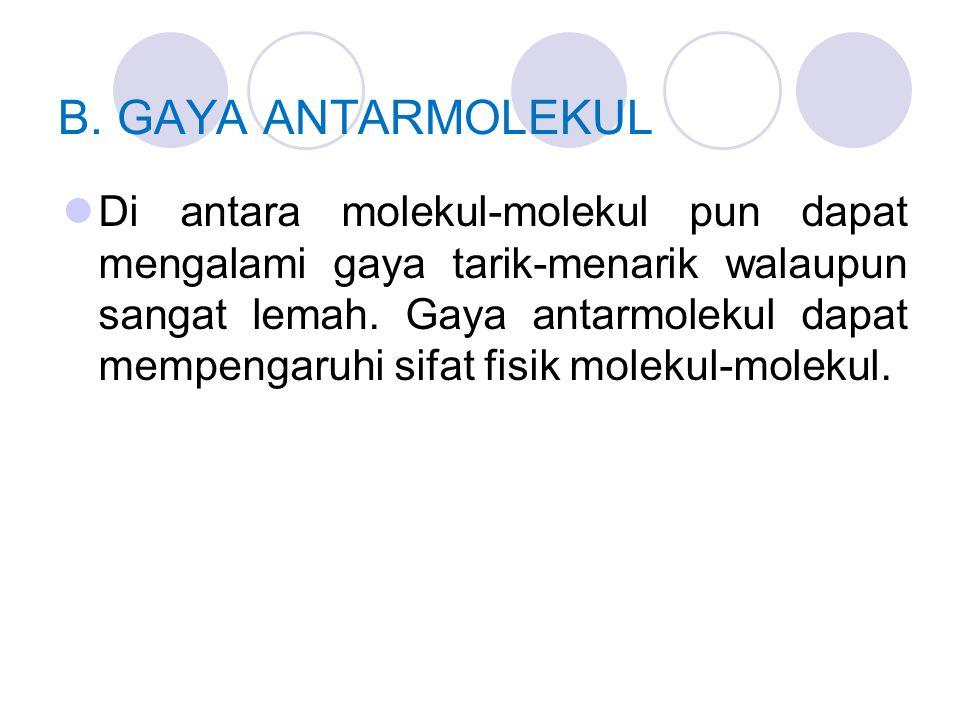 B. GAYA ANTARMOLEKUL Di antara molekul-molekul pun dapat mengalami gaya tarik-menarik walaupun sangat lemah. Gaya antarmolekul dapat mempengaruhi sifa