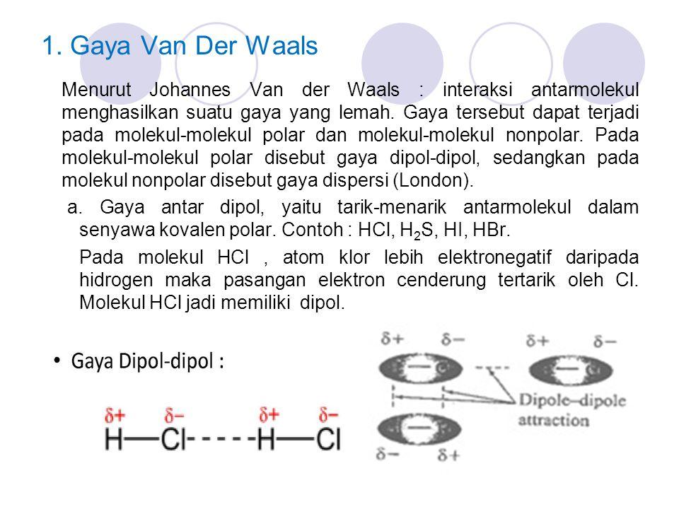 1. Gaya Van Der Waals Menurut Johannes Van der Waals : interaksi antarmolekul menghasilkan suatu gaya yang lemah. Gaya tersebut dapat terjadi pada mol