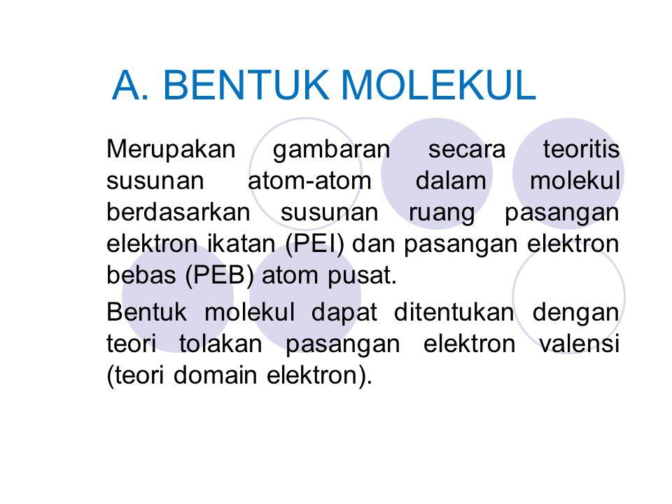A. BENTUK MOLEKUL Merupakan gambaran secara teoritis susunan atom-atom dalam molekul berdasarkan susunan ruang pasangan elektron ikatan (PEI) dan pasa
