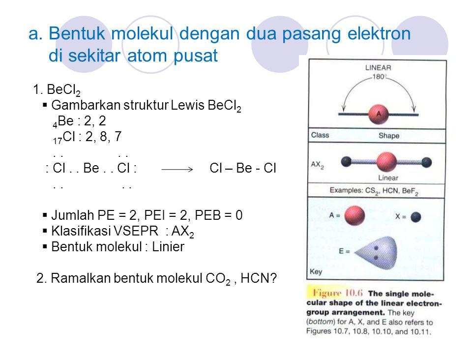 a. Bentuk molekul dengan dua pasang elektron di sekitar atom pusat 1. BeCl 2  Gambarkan struktur Lewis BeCl 2 4 Be : 2, 2 17 Cl : 2, 8, 7.... : Cl..