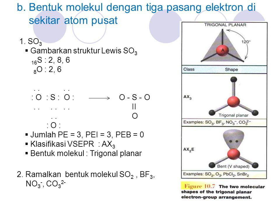 b.Bentuk molekul dengan tiga pasang elektron di sekitar atom pusat 1.