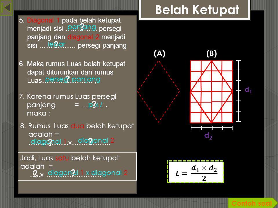Belah Ketupat (A)(B) d 1 6 satuan d 2 4 satua n 1. Gambar dua buah Belah Ketupat yang kongruen dengan alas dan tinggi sebarang ! 2. Potong belah ketup