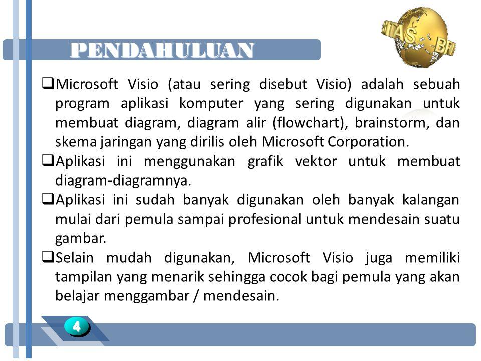 PENDAHULUAN 44  Microsoft Visio (atau sering disebut Visio) adalah sebuah program aplikasi komputer yang sering digunakan untuk membuat diagram, diagram alir (flowchart), brainstorm, dan skema jaringan yang dirilis oleh Microsoft Corporation.