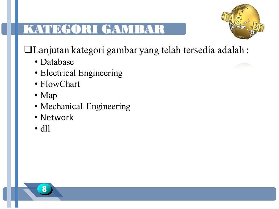 KATEGORI GAMBAR 88  Lanjutan kategori gambar yang telah tersedia adalah : Database Electrical Engineering FlowChart Map Mechanical Engineering Network dll