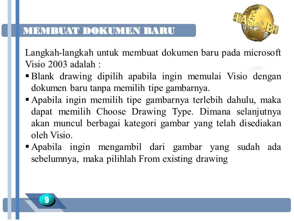 MEMBUAT DOKUMEN BARU 99 Langkah-langkah untuk membuat dokumen baru pada microsoft Visio 2003 adalah :  Blank drawing dipilih apabila ingin memulai Visio dengan dokumen baru tanpa memilih tipe gambarnya.