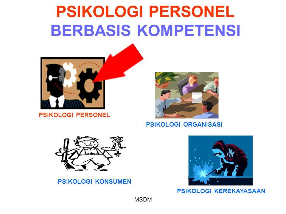 MSDM PSIKOLOGI PERSONEL BERBASIS KOMPETENSI PSIKOLOGI PERSONEL PSIKOLOGI ORGANISASI PSIKOLOGI KONSUMEN PSIKOLOGI KEREKAYASAAN