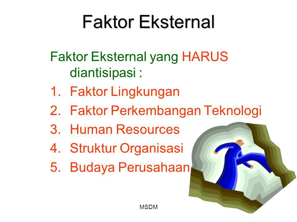 MSDM Faktor Eksternal Faktor Eksternal yang HARUS diantisipasi : 1.Faktor Lingkungan 2.Faktor Perkembangan Teknologi 3.Human Resources 4.Struktur Orga