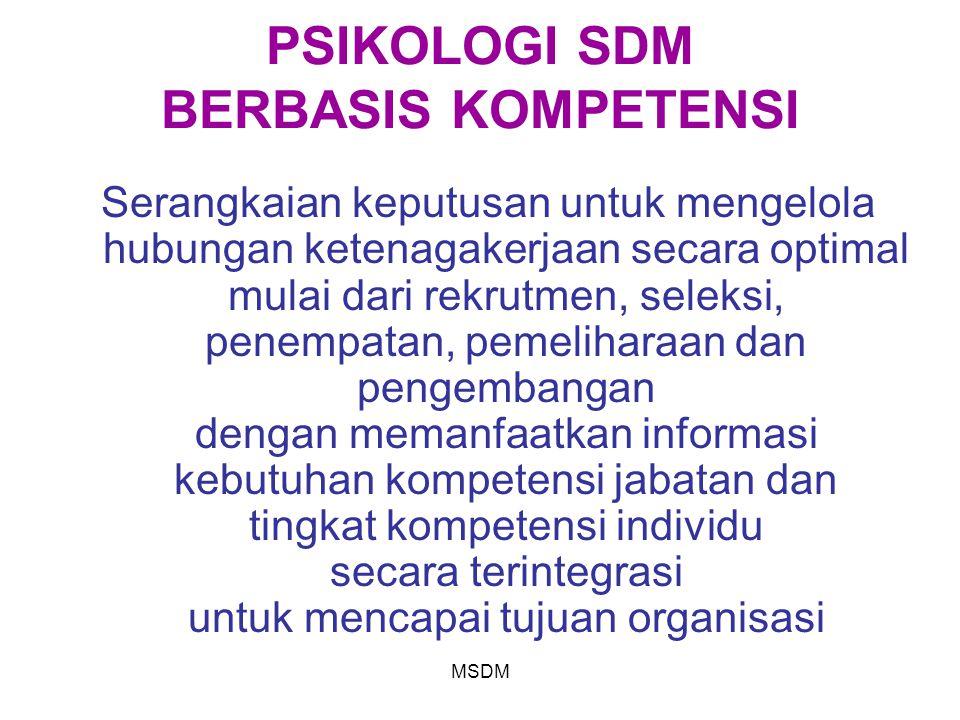 MSDM PSIKOLOGI SDM BERBASIS KOMPETENSI Serangkaian keputusan untuk mengelola hubungan ketenagakerjaan secara optimal mulai dari rekrutmen, seleksi, pe