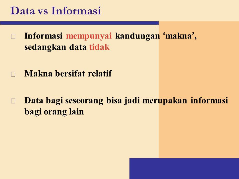 Data vs Informasi  Informasi mempunyai kandungan ' makna ', sedangkan data tidak v Makna bersifat relatif v Data bagi seseorang bisa jadi merupakan i
