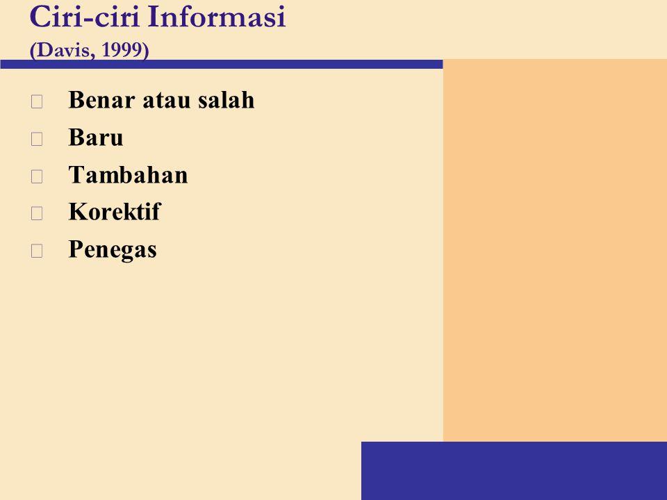 Ciri-ciri Informasi (Davis, 1999) v Benar atau salah v Baru v Tambahan v Korektif v Penegas